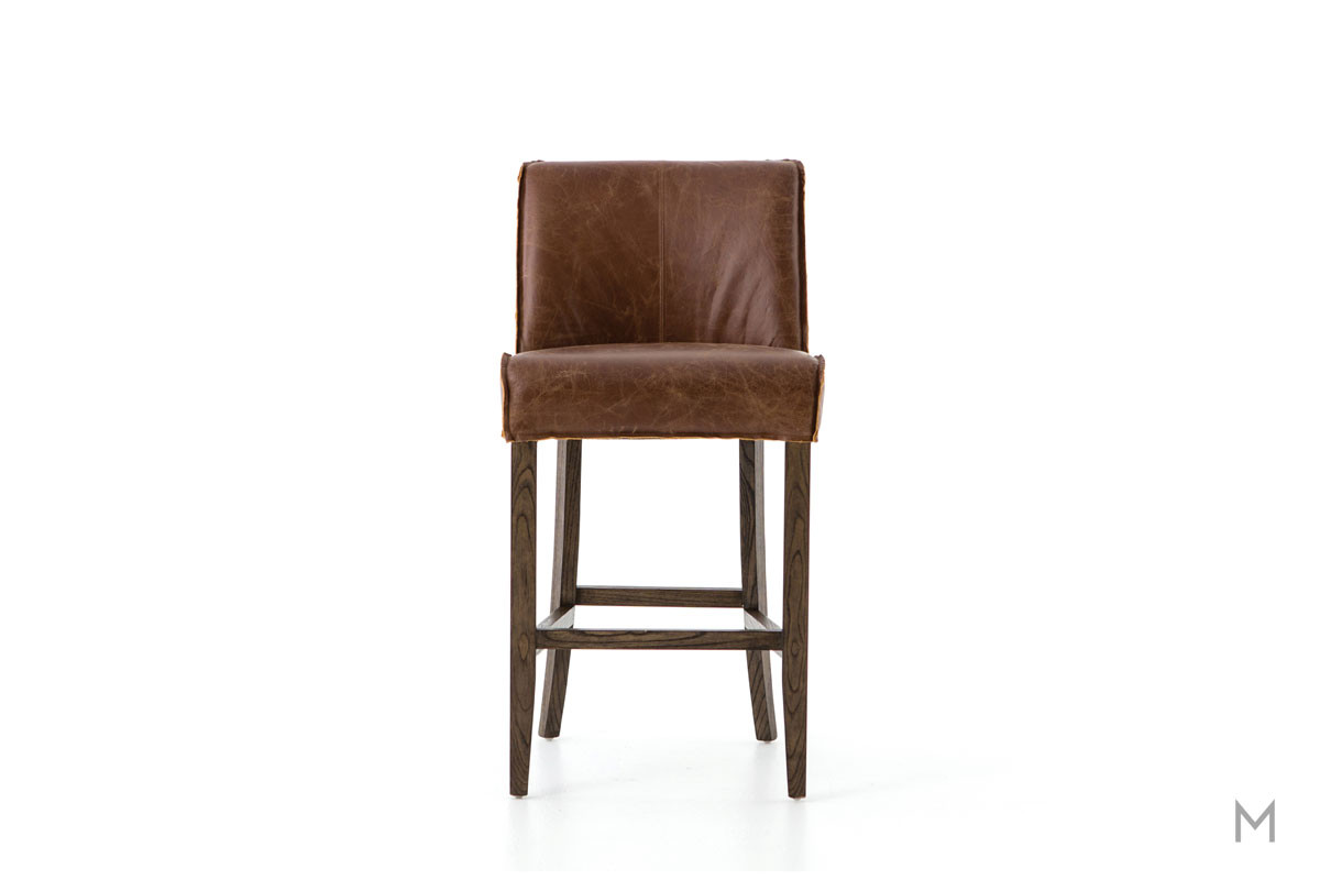 Aria Counter Stool featuring Raw-Edged Leather