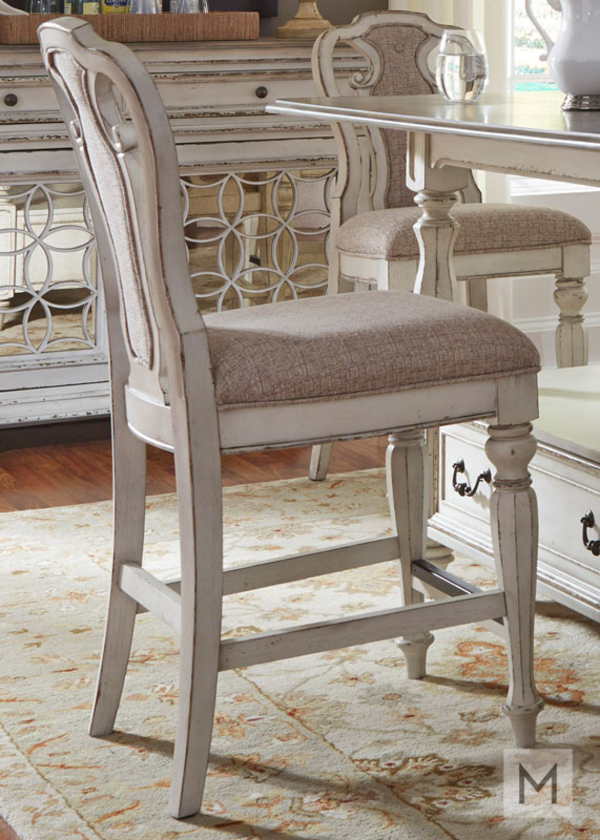 Magnolia Manor Counter Stool in White with Antique Finish