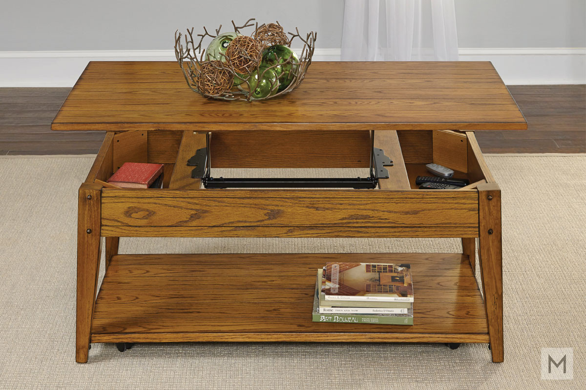 Lakehouse Lift Top Coffee Table with Antique Brass Hardware