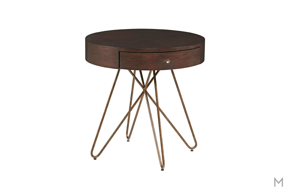 Epicenters Silver Lake Round End Table with Gold-Toned Finished Hairpin Legs