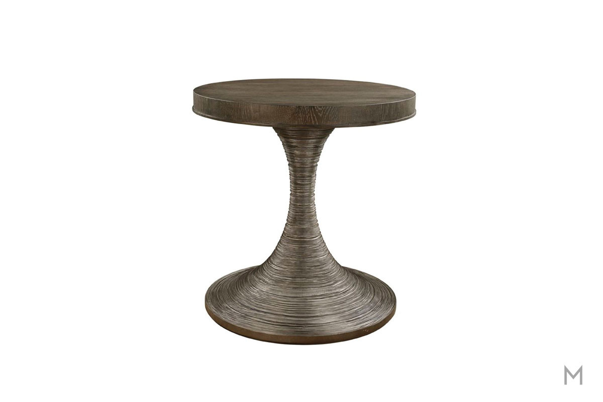 Geode Occo Round Bedside Table featuring a Grooved Houreglass Base