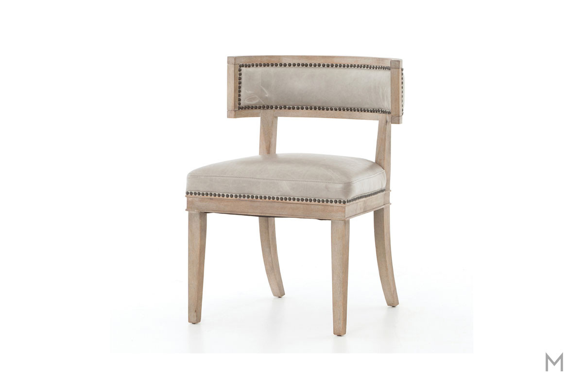 Carter Dining Chair featuring Nailhead Trim and Leather