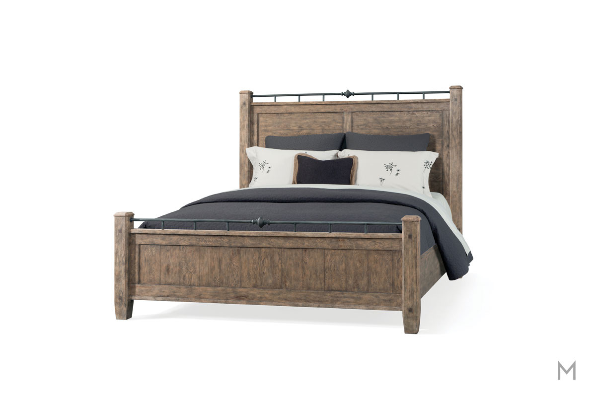 Riverbank King Panel Bed in Weathered Gray Oak