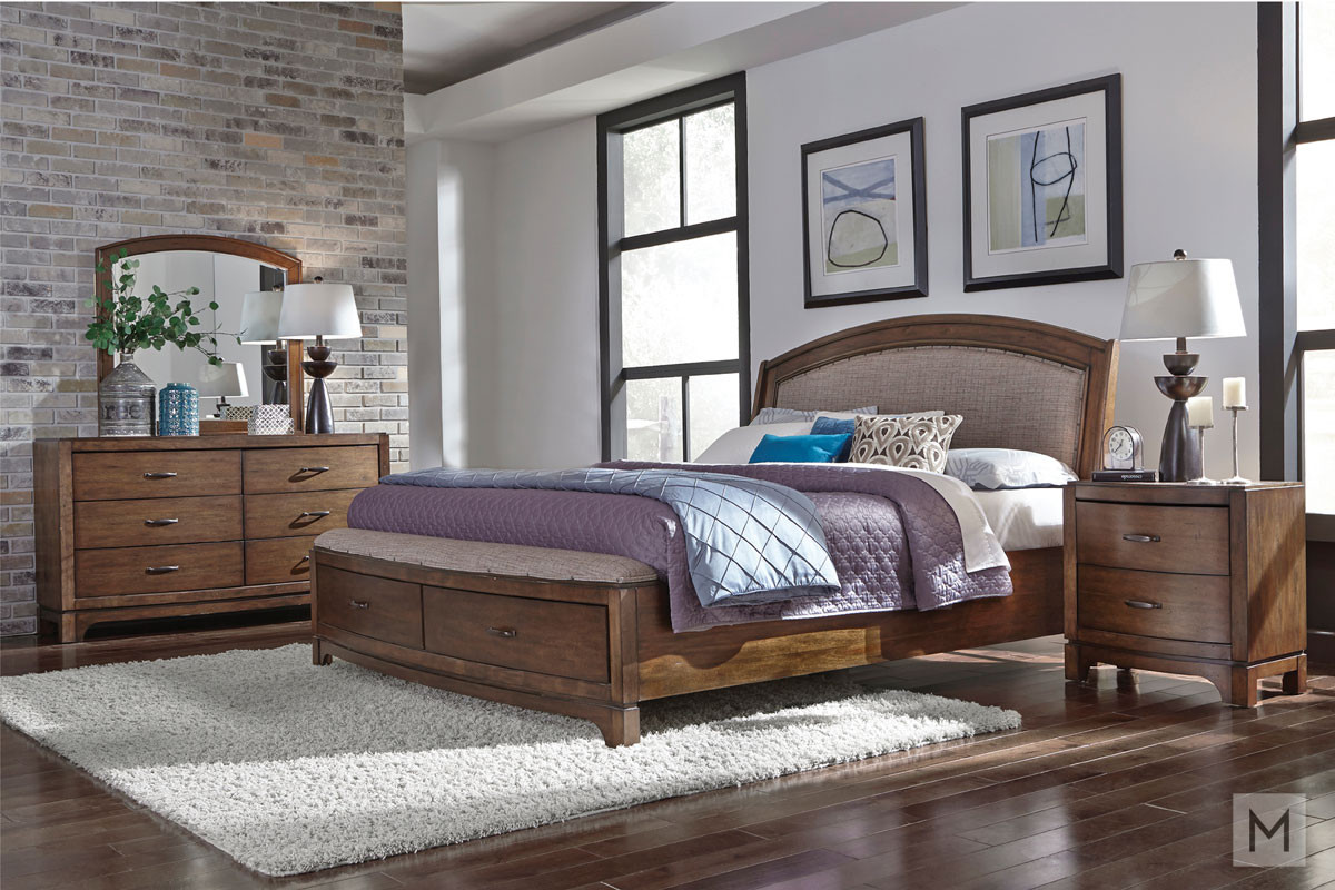 Avalon III 4 Piece Queen Bedroom Set in Pebble Brown