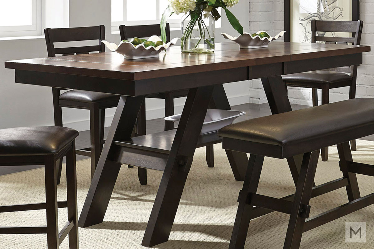 "Lawson 78"" Rectangular Dining Table in Light and Dark Espresso"
