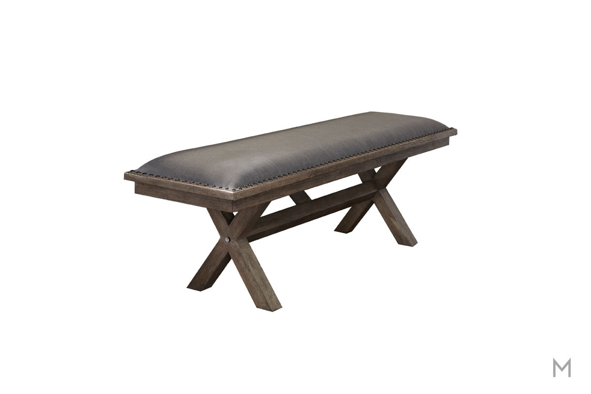Sonoma Upholstered Trestle Bench with Nailhead Trim