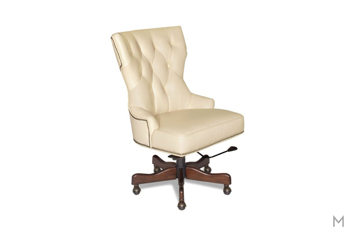 Primm Executive Home Office Chair in Tan Leather with Tufted Buttons