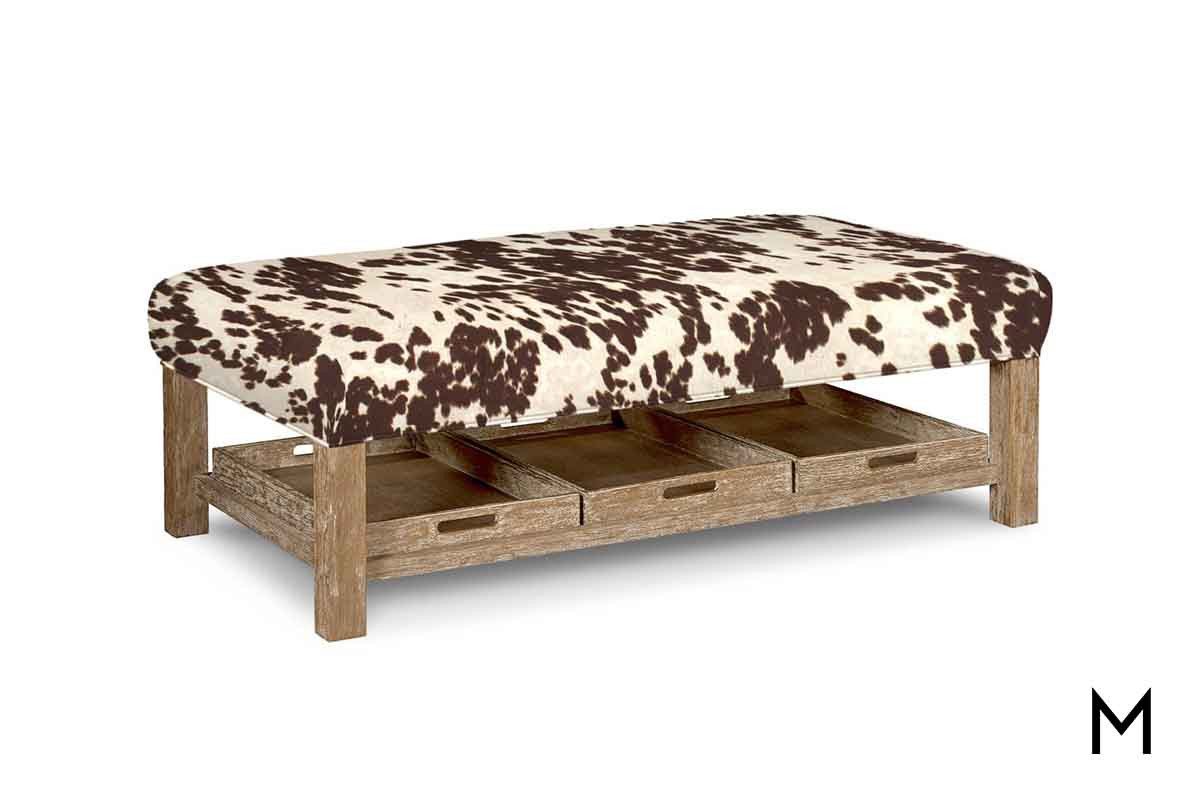M Collection Cowhide Tail Ottoman