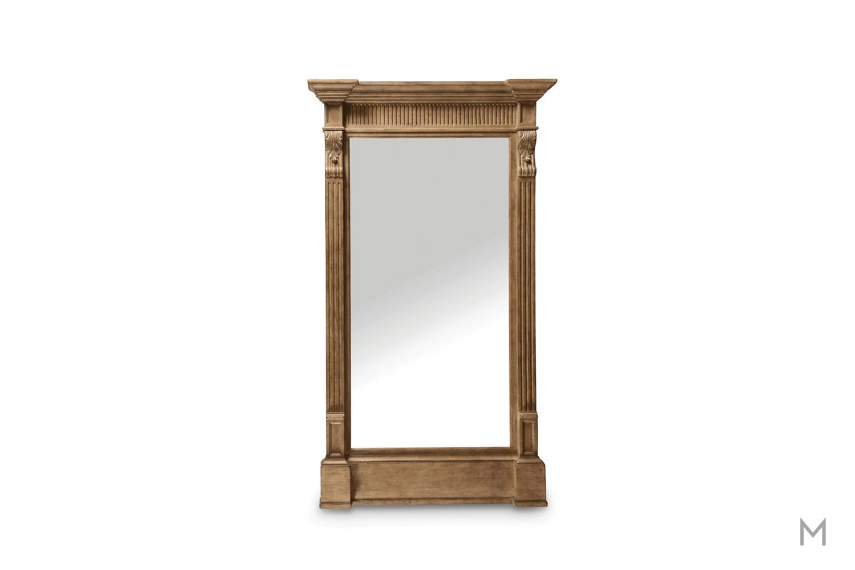 Washington Salon Full Length Floor Mirror finished in Rustic Palomino