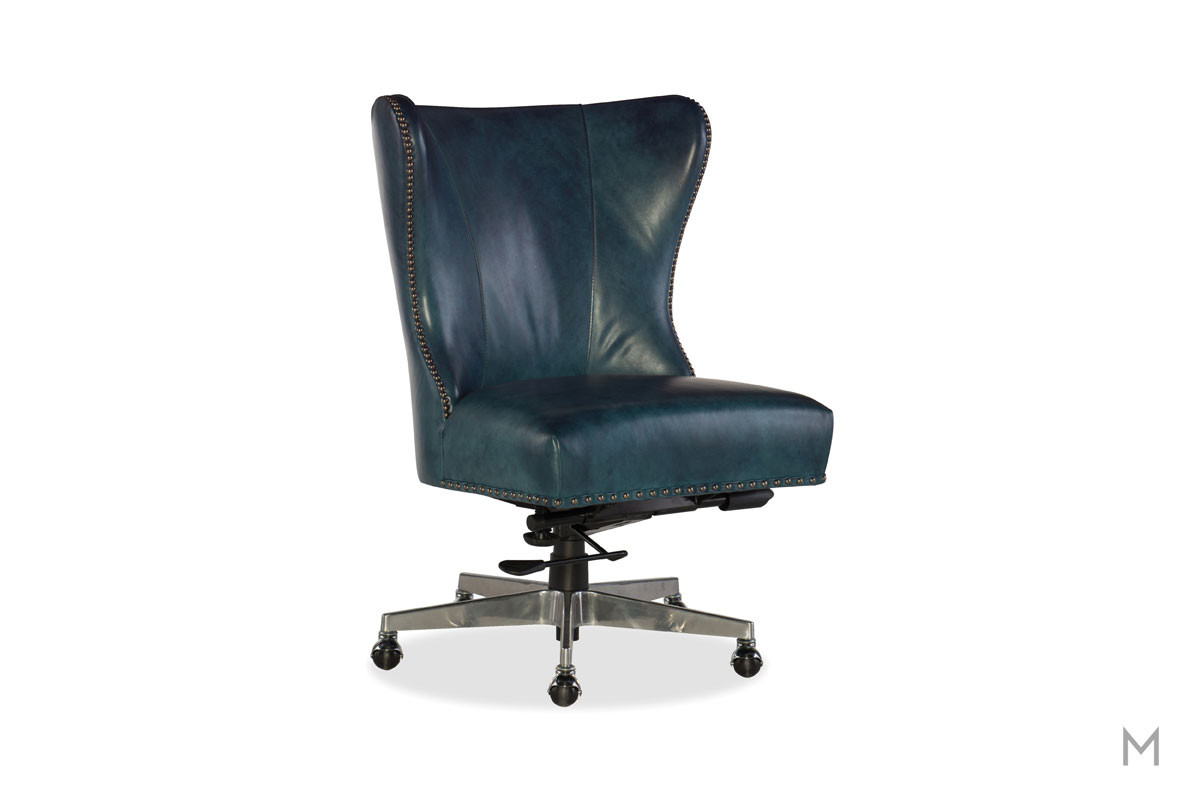 Juliet Leather Home Office Chair featuring Nailhead Trim