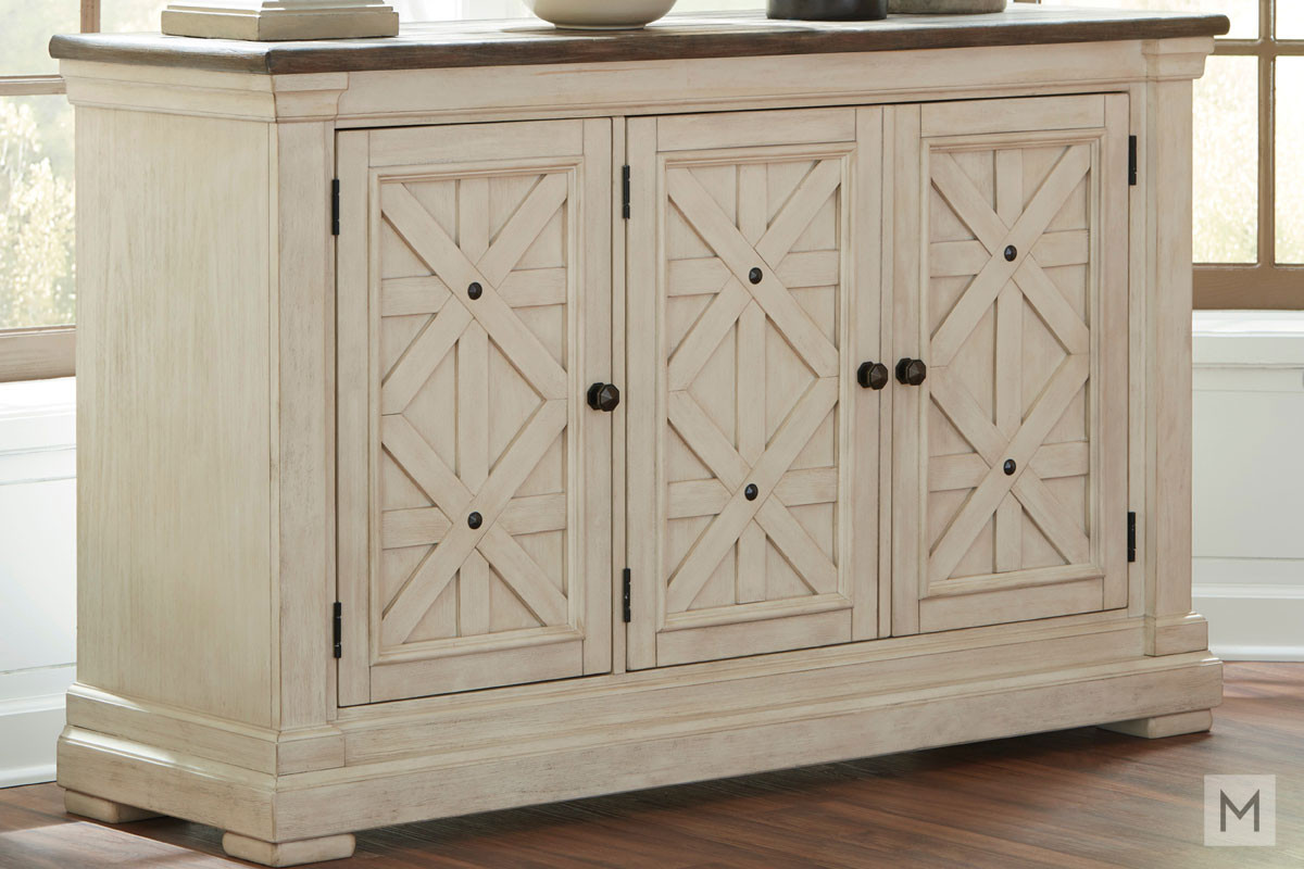 Bolanburg Dining Room Server in Vintage White and Rustic Brown