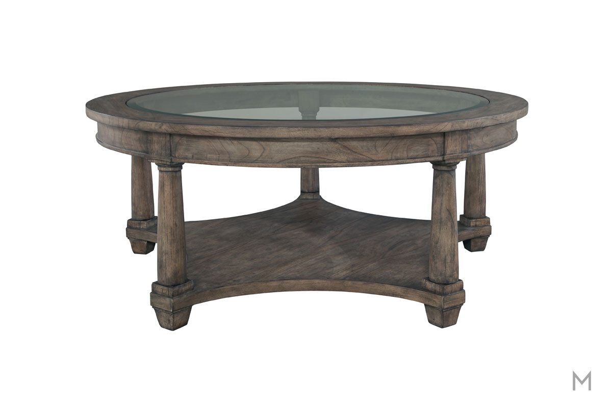 Lincoln Park Round Coffee Table in Weathered Gray