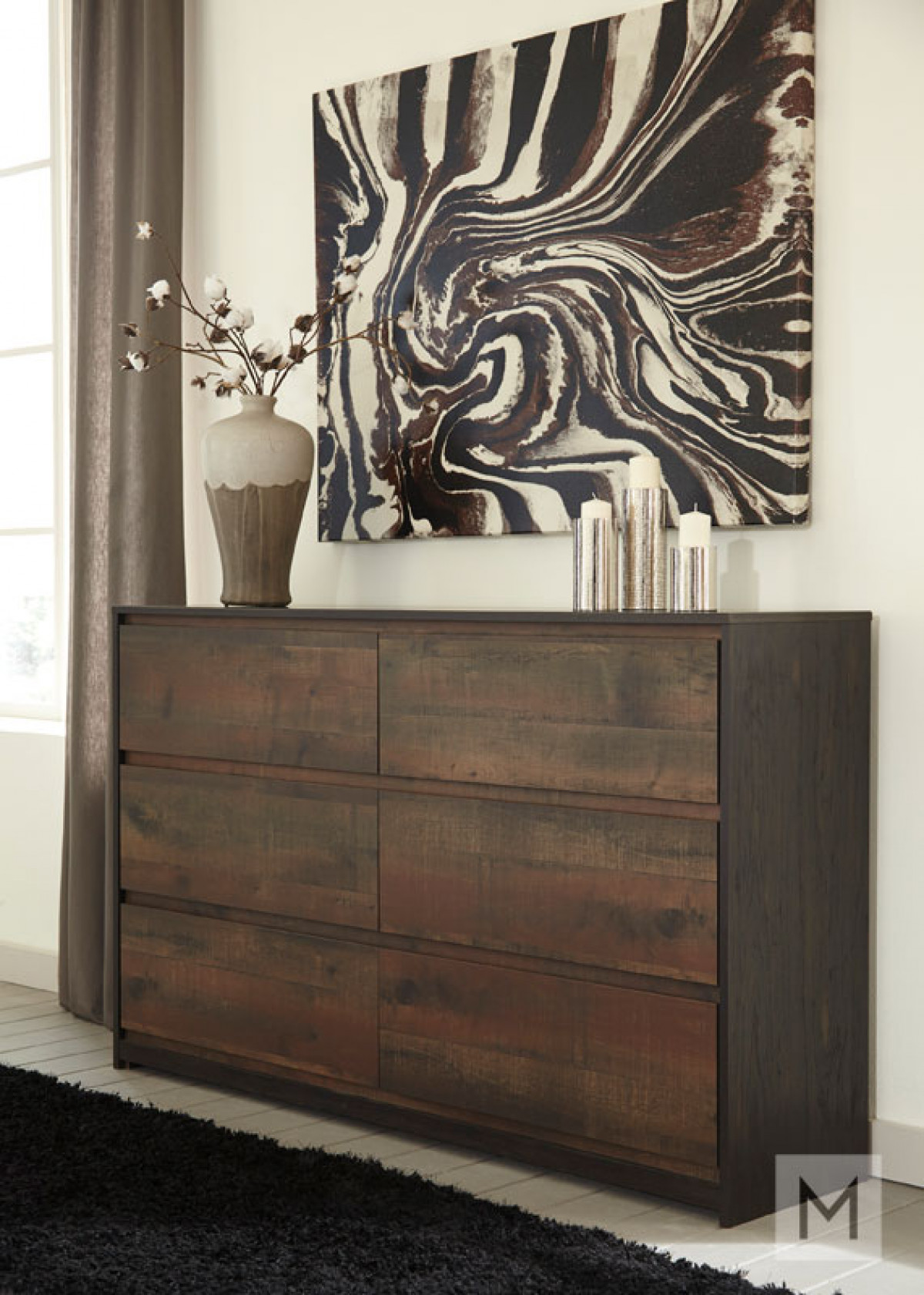 Windlore Six Drawer Dresser in Dark Brown with a Rustic Finish