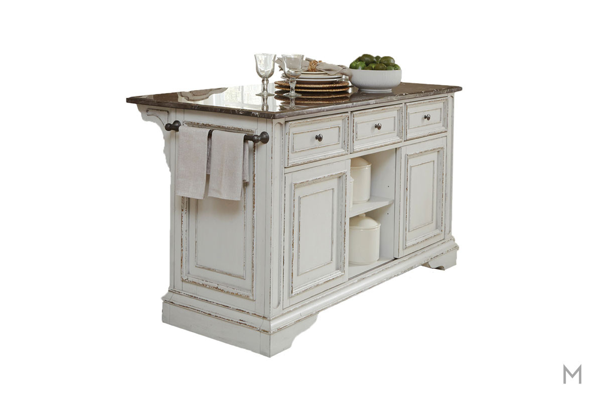 Magnolia Manor Kitchen Island with Granite Countertop