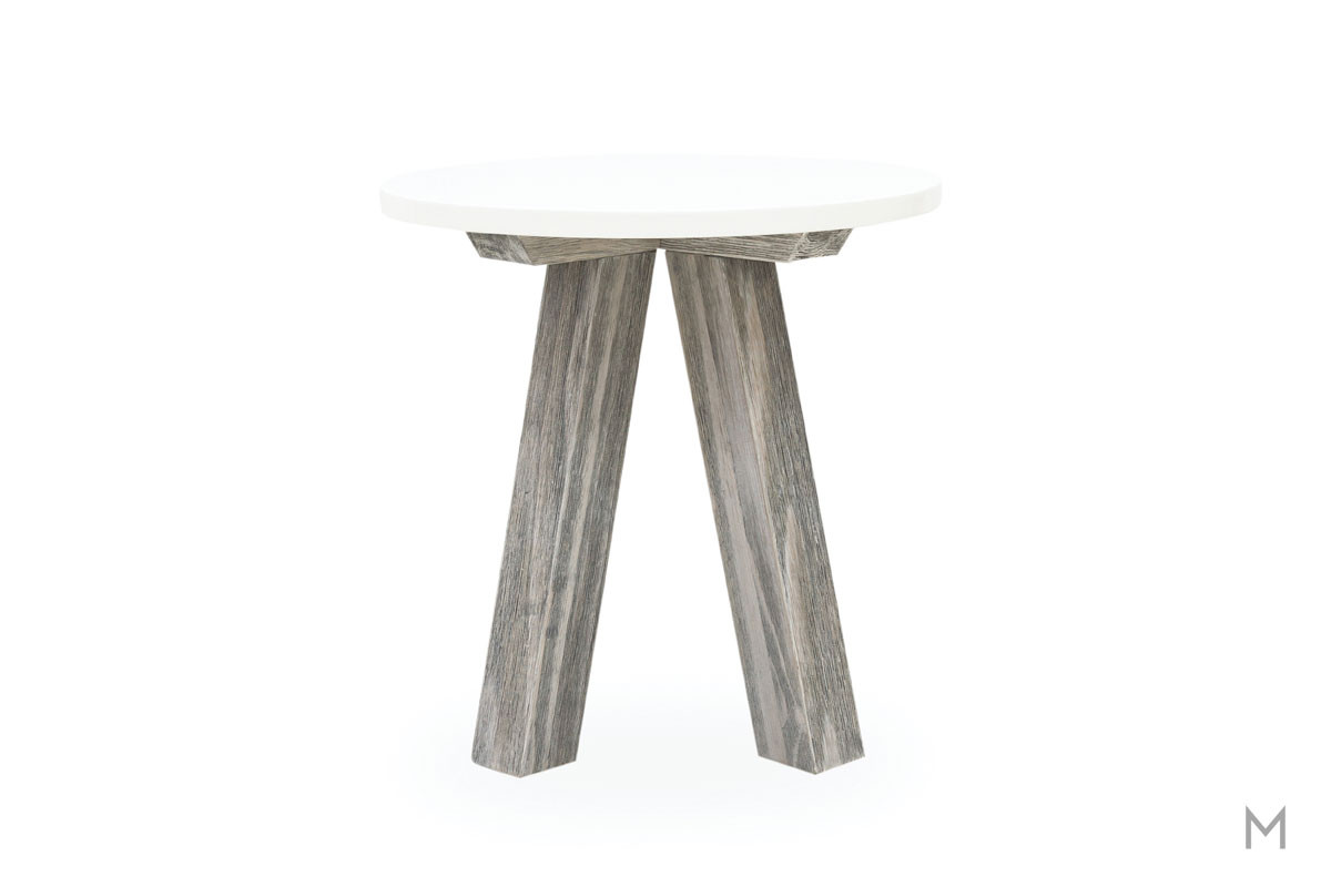 Paxton Round End Table featuring White Lacquered Top