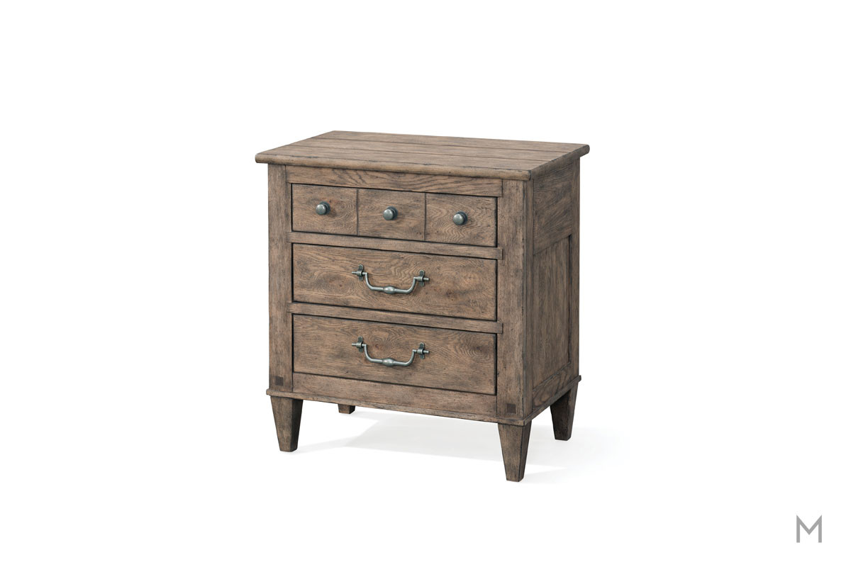 Riverbank 3 Drawer Nightstand in Weathered Gray Oak