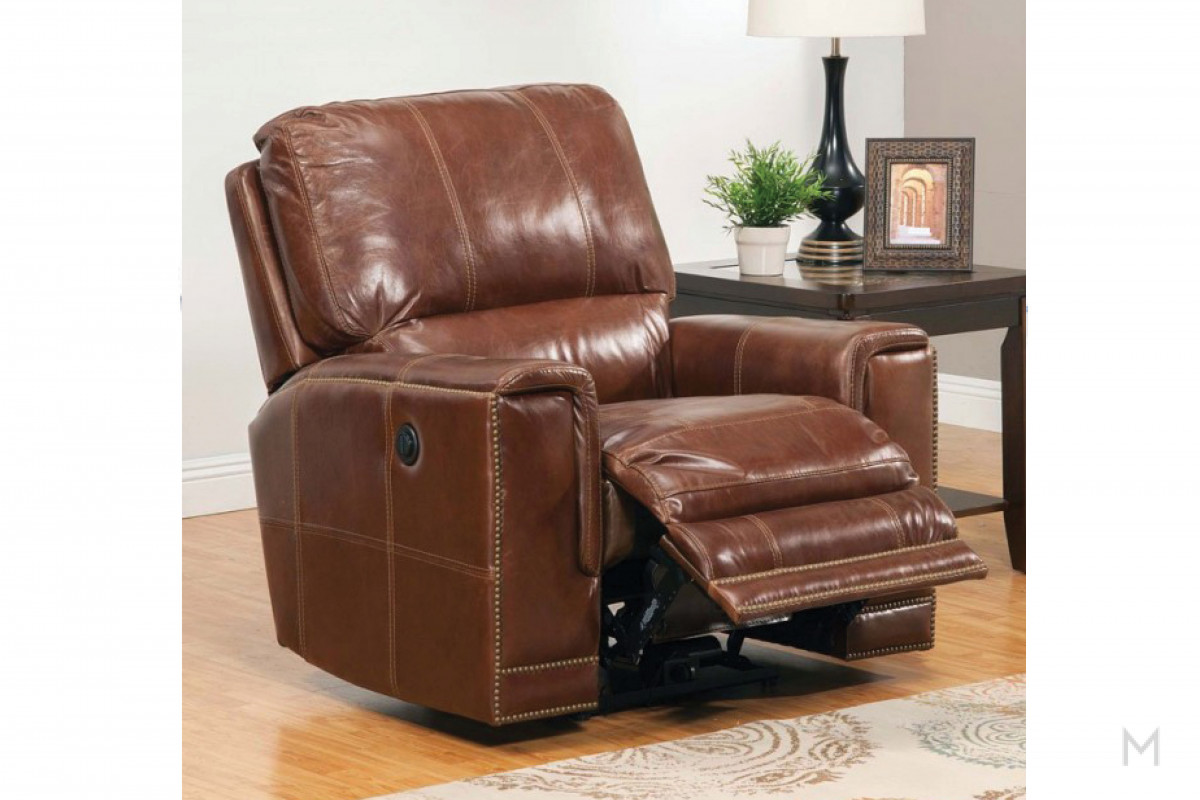 M Collection Maple Power Recliner in Maple