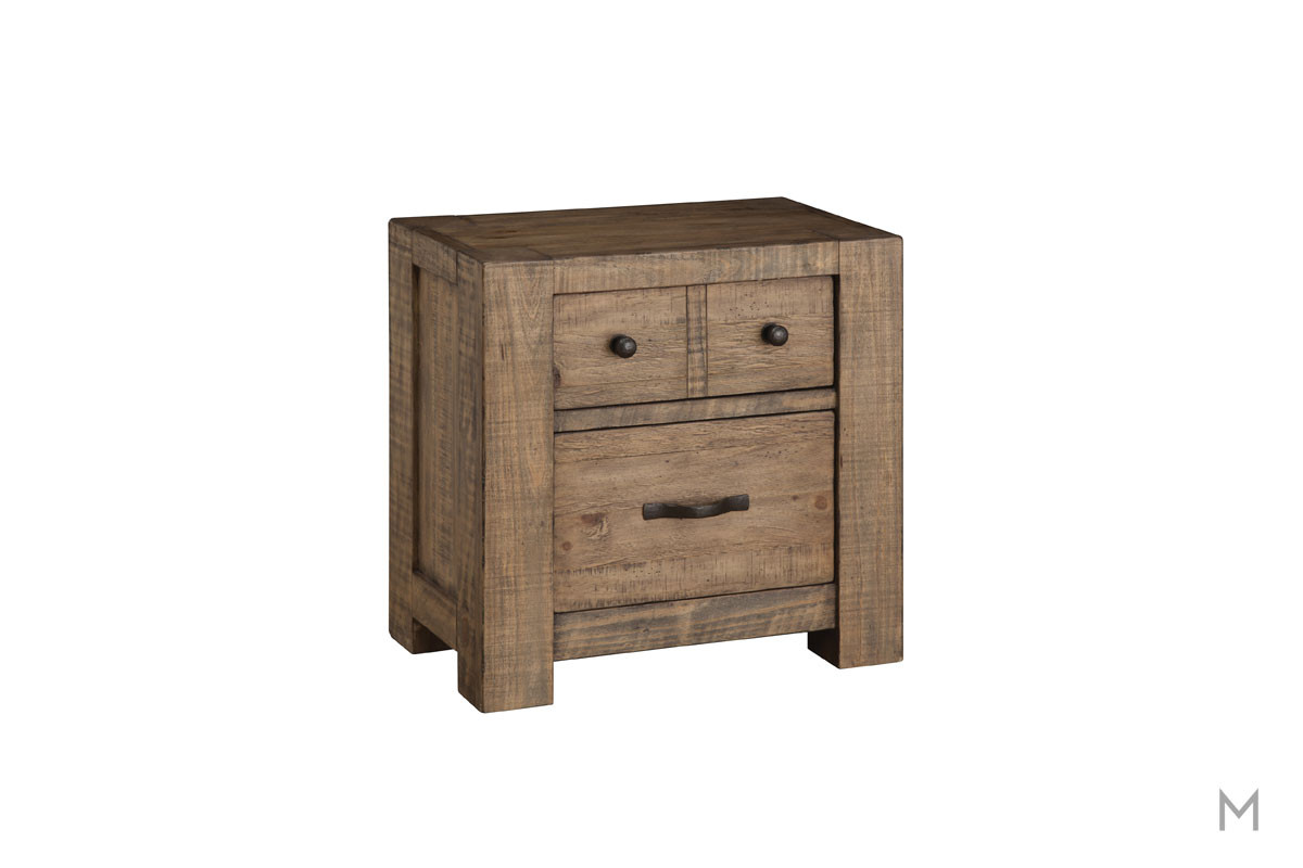 Griffith Two Drawer Nightstand in Weathered Toffee