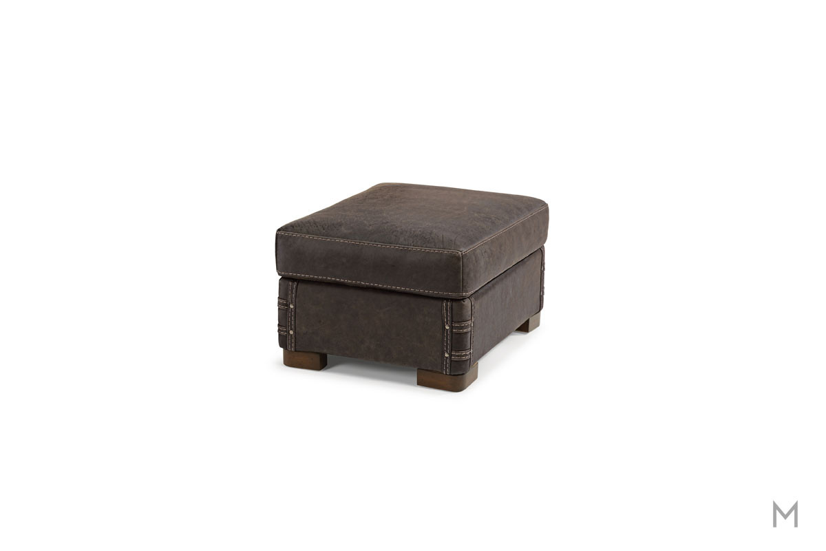 Lomax Leather Ottoman with Nailhead Details