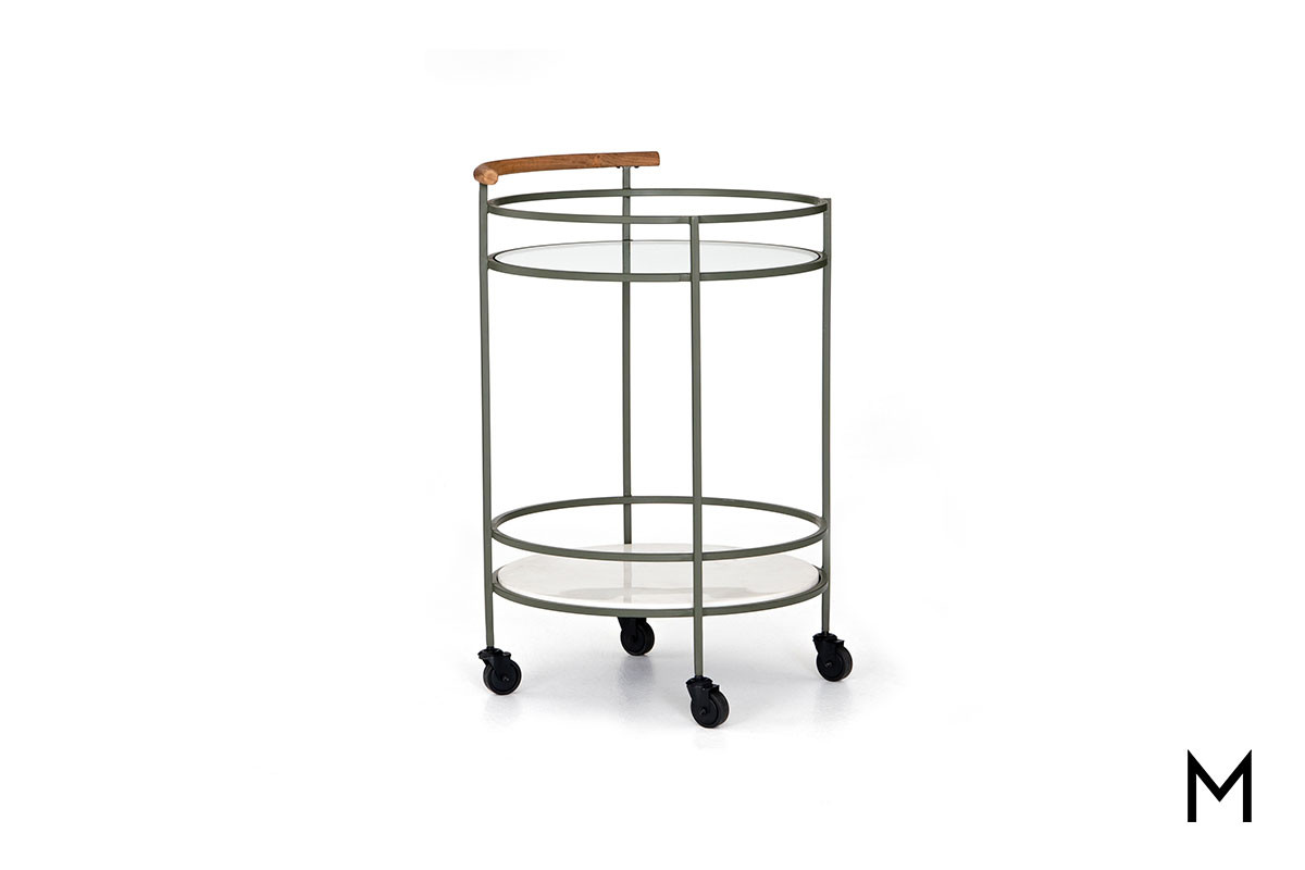 Dempsey Bar Cart With Glass And Marble Shelves