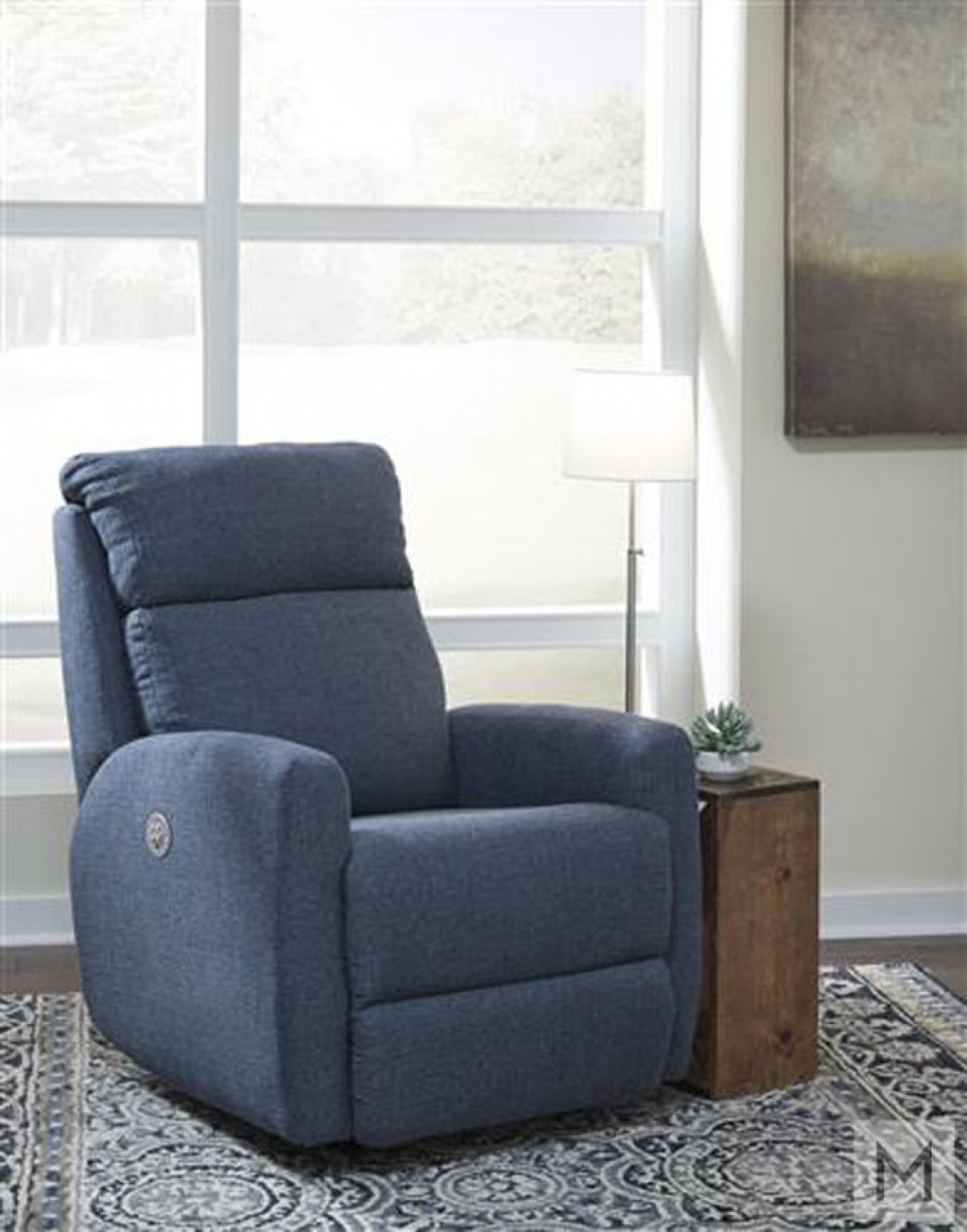 M Collection Primo Upholstered Recliner in Gray