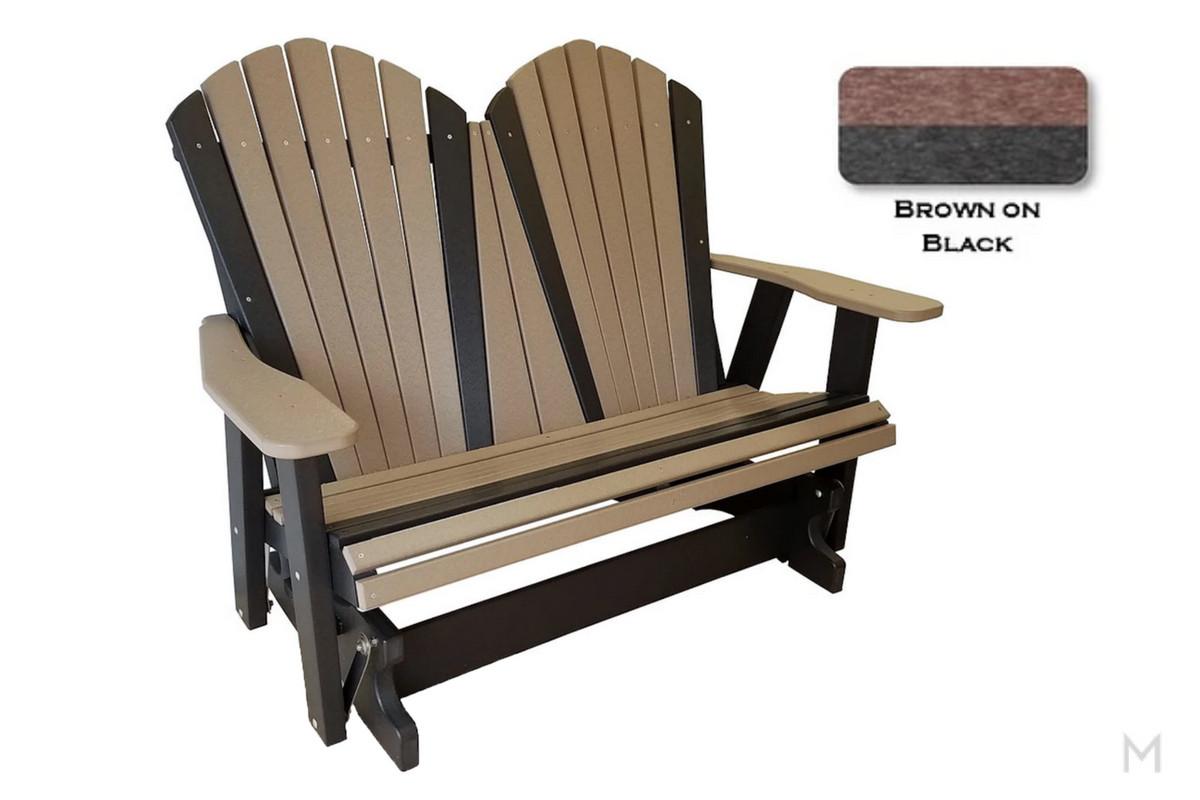 Brown with Black Loveseat Glider