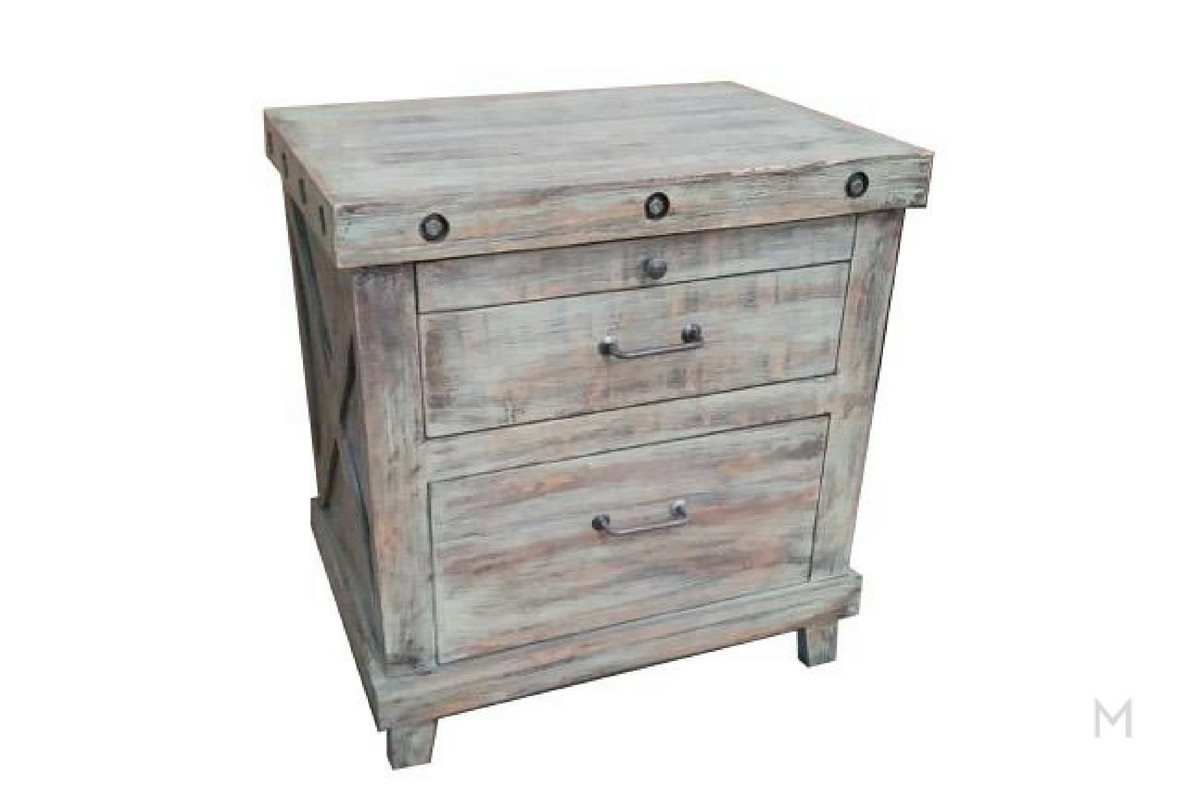 M Collection Barnwood Nightstand with 3 Drawers