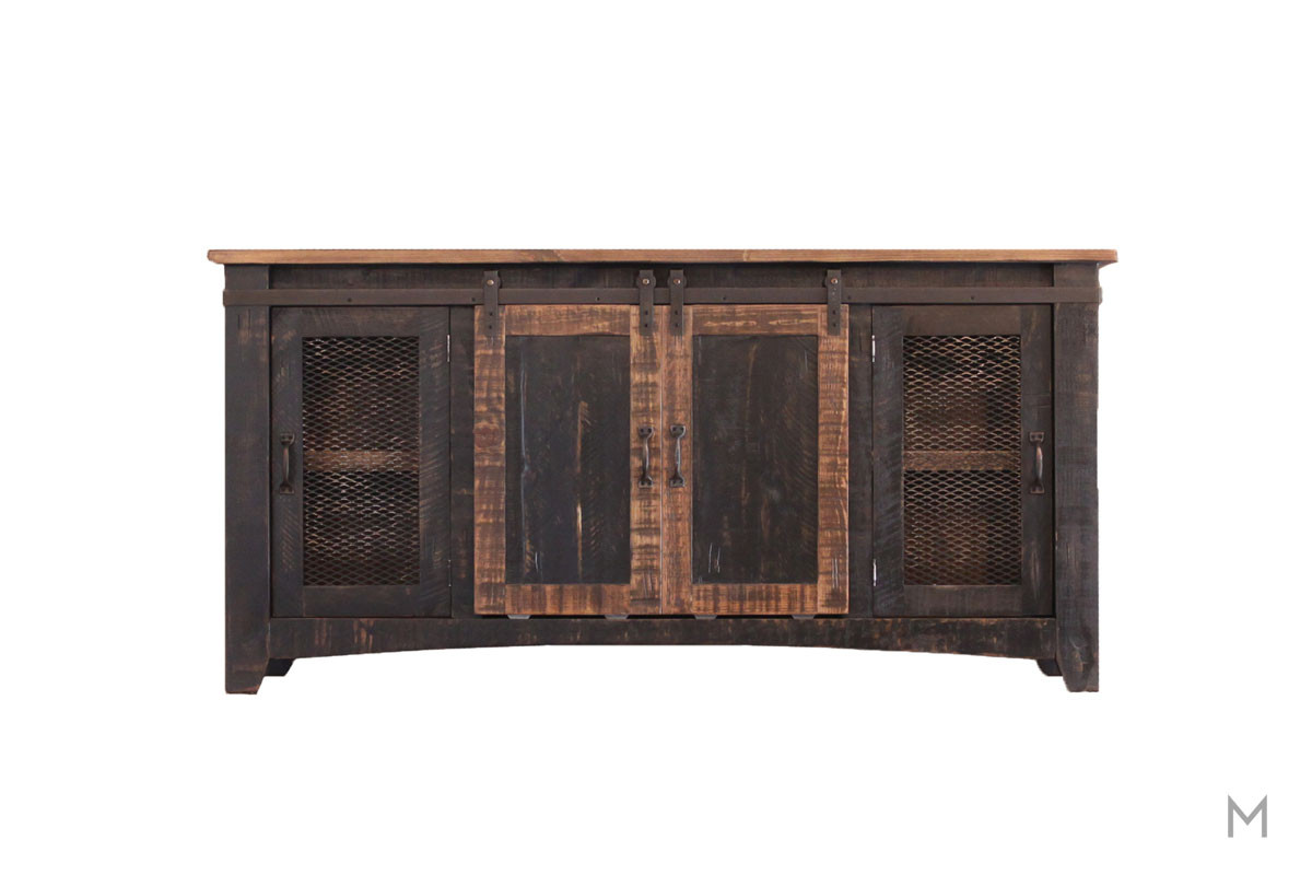 "Pueblo Black 70"" TV Console with Sliding Barn Doors"