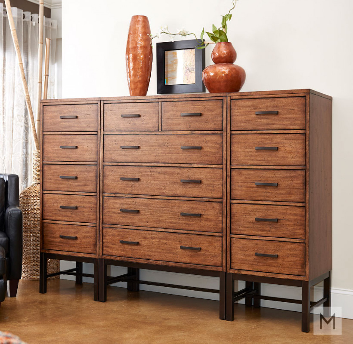 Affinity Five Drawer Lingerie Chest in Mango with a Rustic Finish