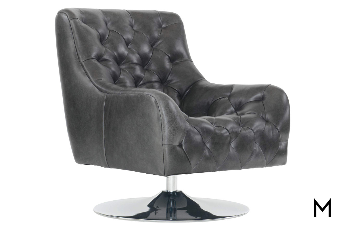 Picture of: Contemporary Tufted Leather Swivel Chair