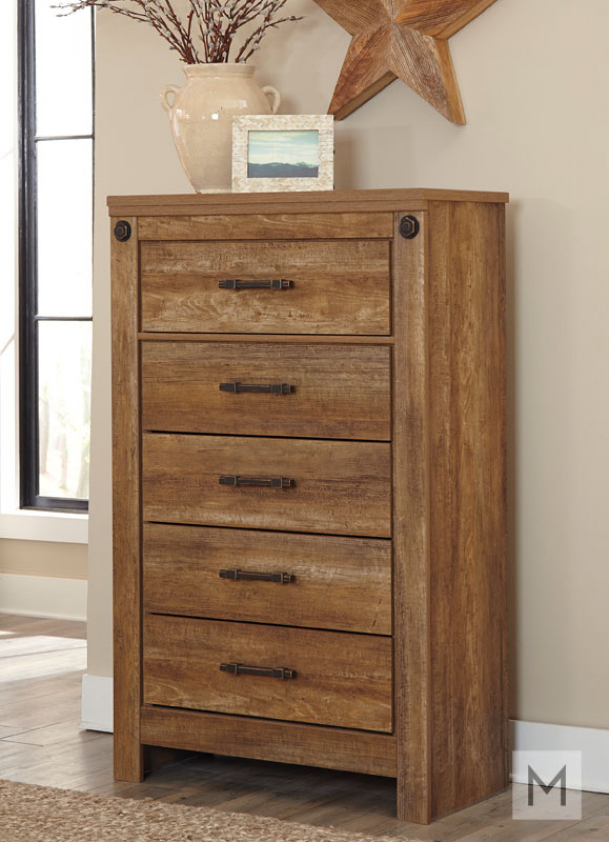 Ladimier Five Drawer Chest in Golden Brown with a Rustic Finish