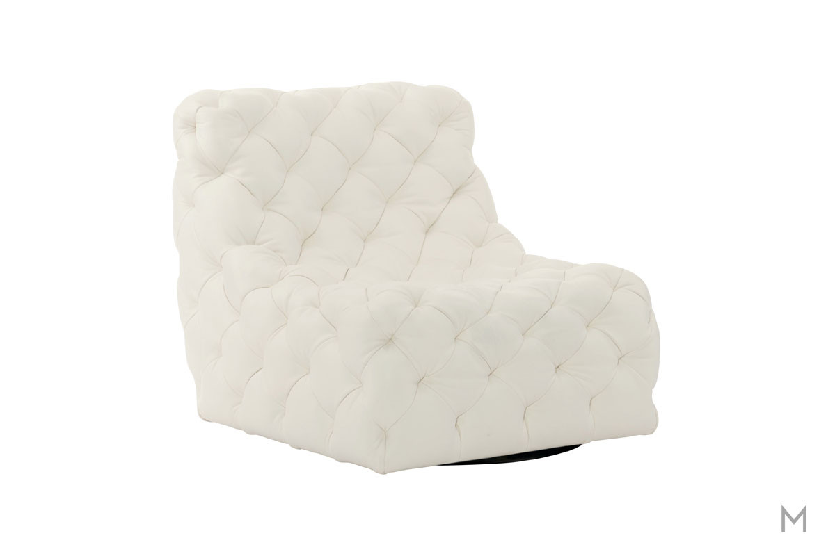 Rigby Swivel Chair in White Leather with Tufted Buttons