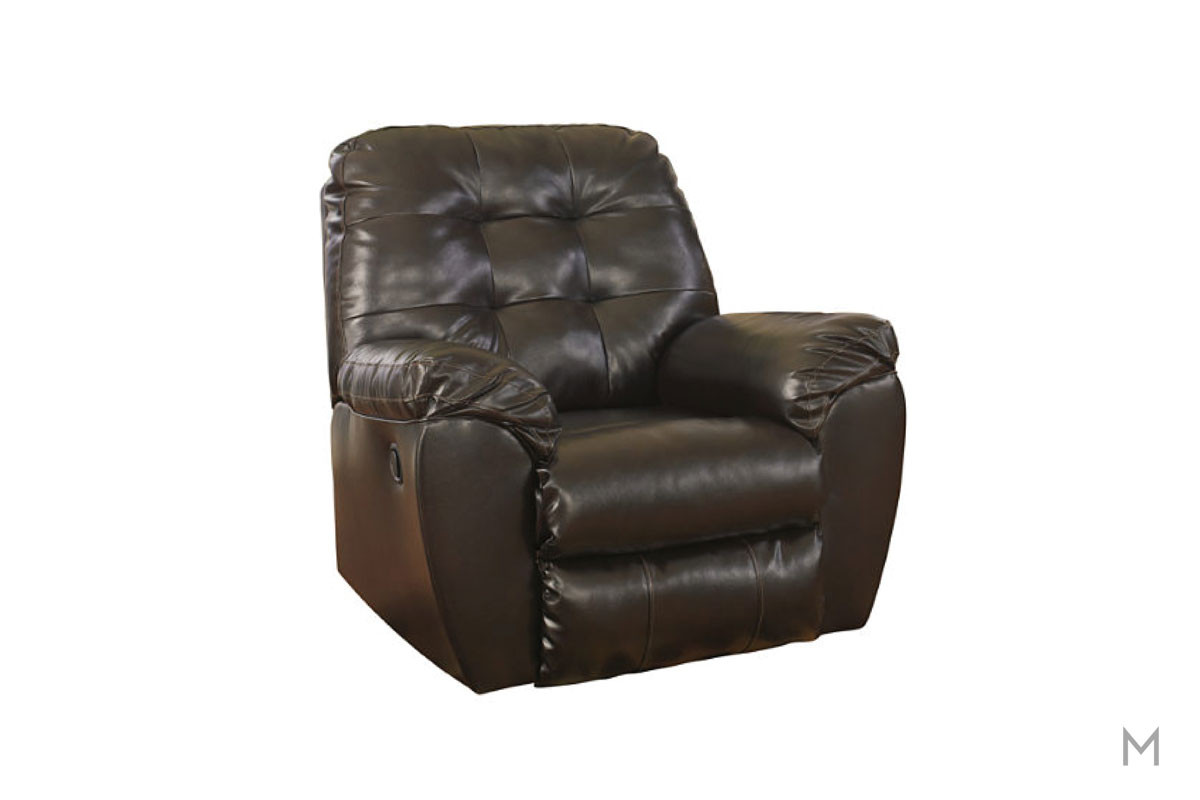 Alliston Rocker Recliner in Chocolate Brown DuraBlend with Tufted Buttons