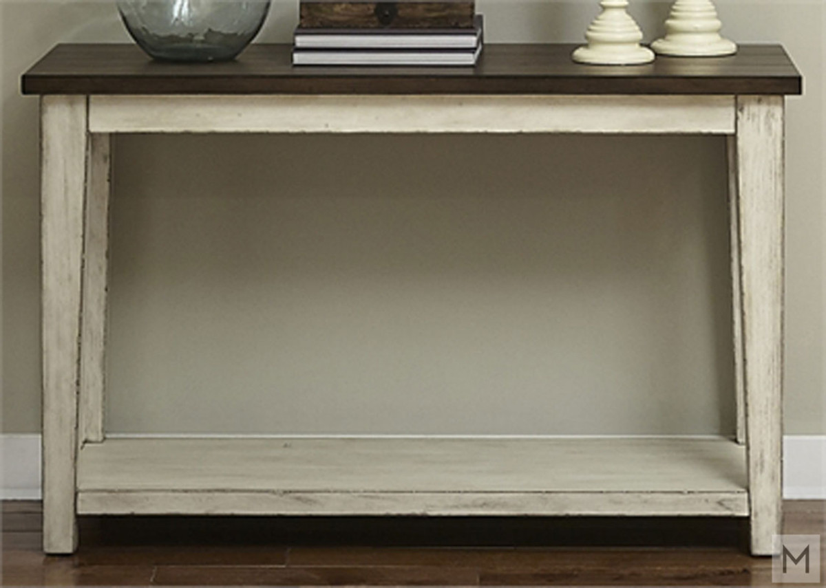 Lancaster Console Table in Weathered Bark Top and White Base