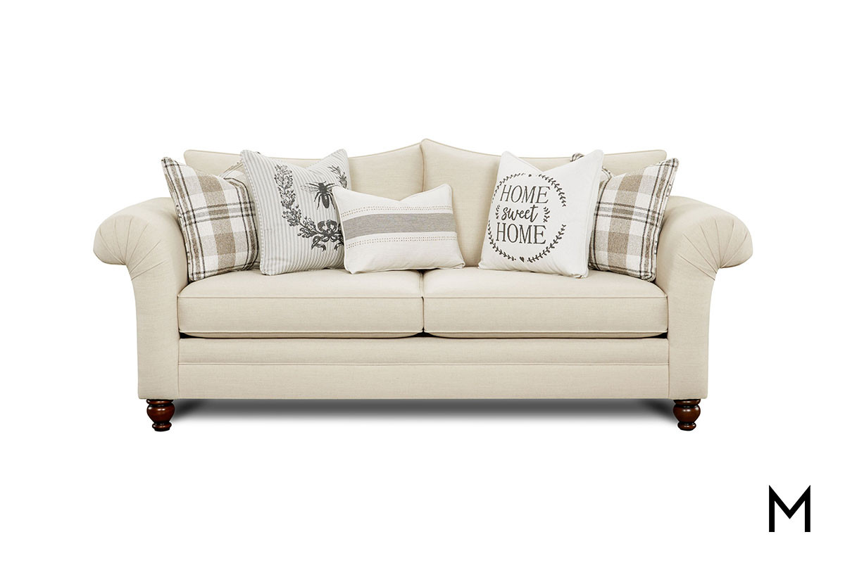 Superb Cottage Farmhouse Sofa With French Bee And Home Sweet Home Pillows Customarchery Wood Chair Design Ideas Customarcherynet