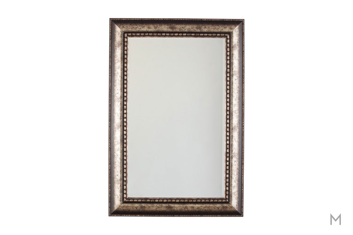 Traditional Antiqued Wall Mirror in Antique Silver