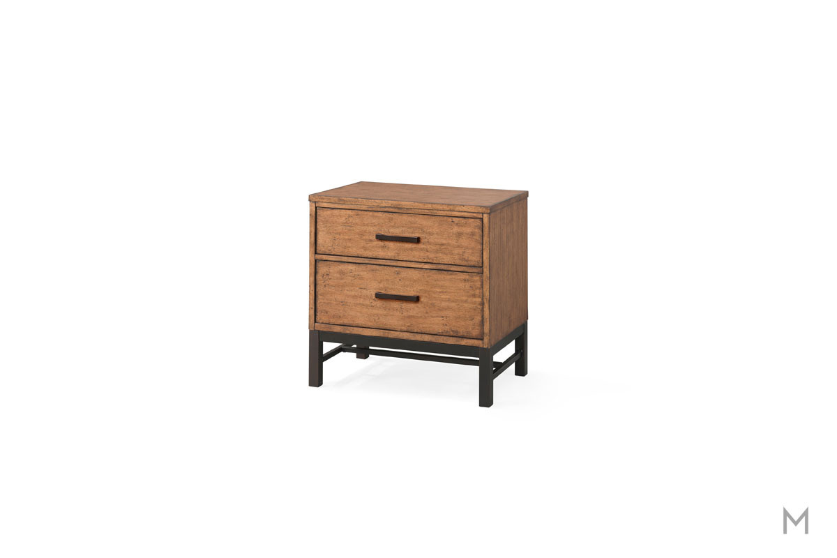 Affinity Two Drawer Nightstand in Mango with a Rustic Finish