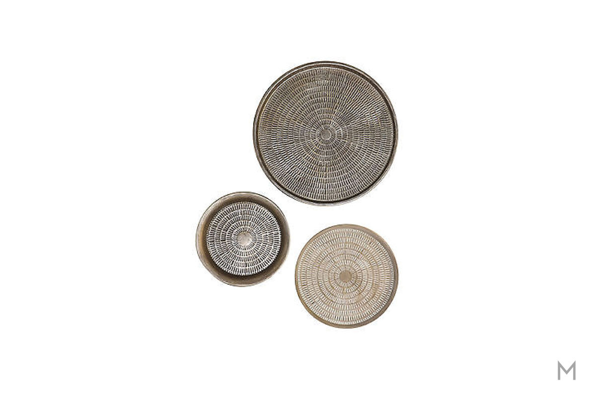 Metal Charger Wall Décor as a Set of Three