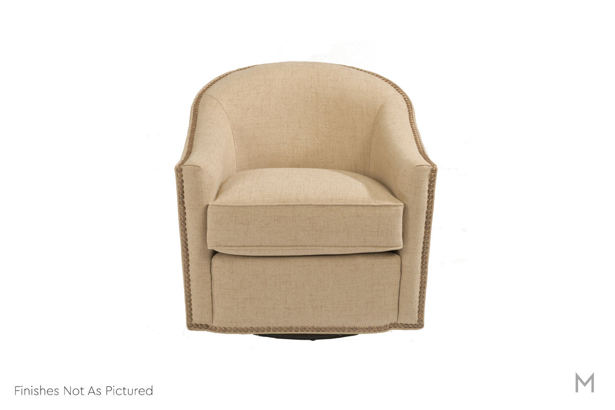 Kedzie Swivel Chair featuring Nailhead Trim