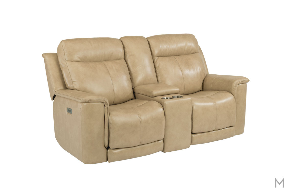 Miller Leather Power Reclining Loveseat with Console with Power Headrest and Power Recline