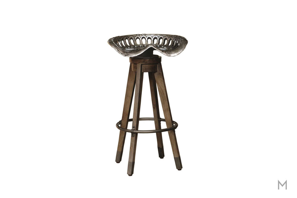 Boone Linville Farm Swivel Bar Stool featuring a Tractor Seat