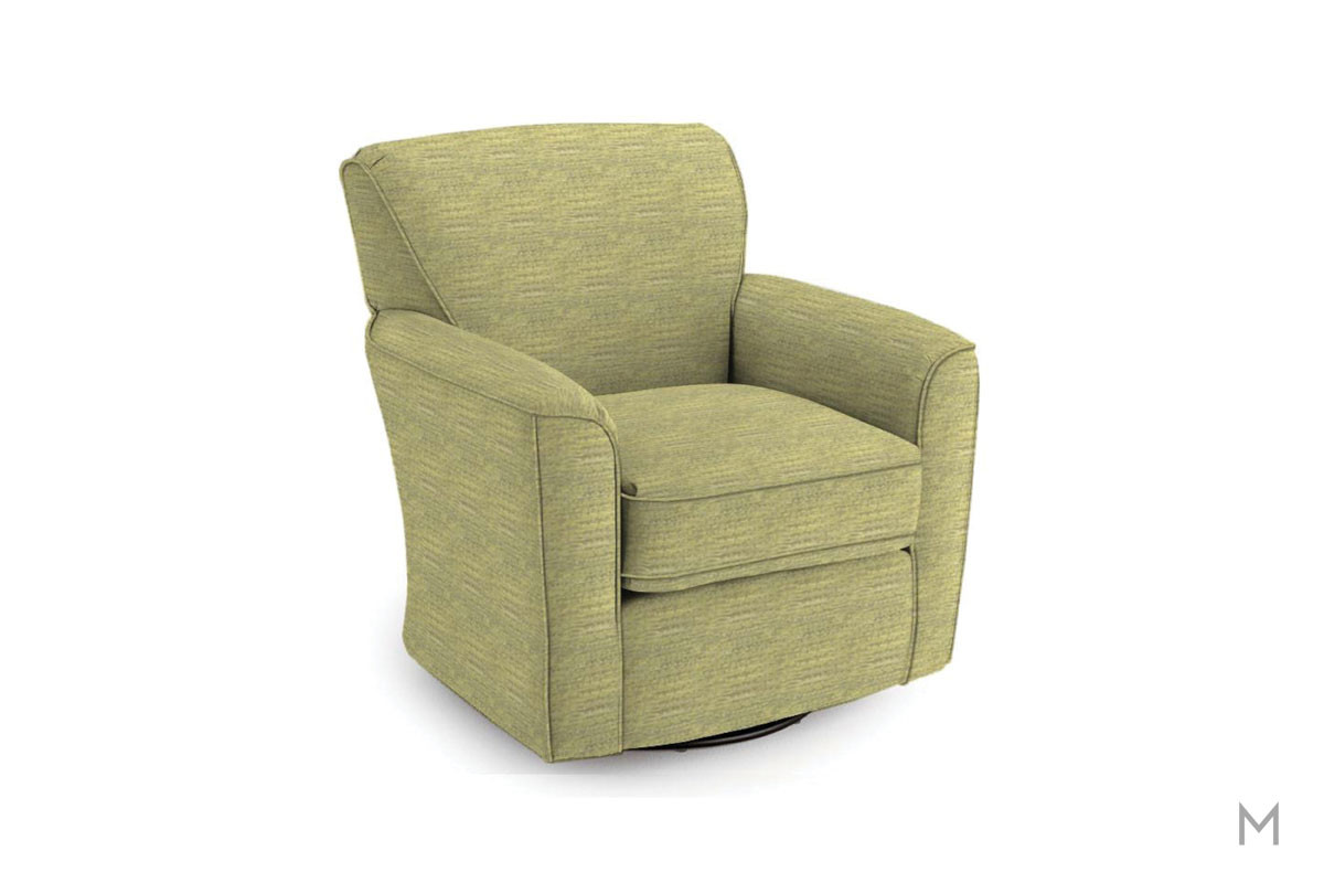 Kaylee Swivel Barrel Chair in Green
