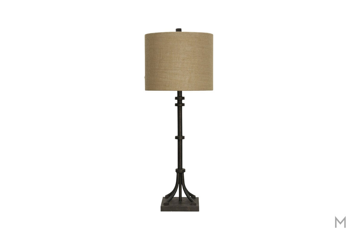 Industrial Iron Table Lamp in Bronze