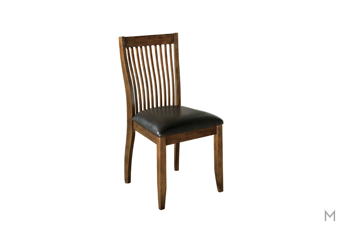 Stuman Upholstered Dining Side Chair in Medium Brown with Cushioned Seat