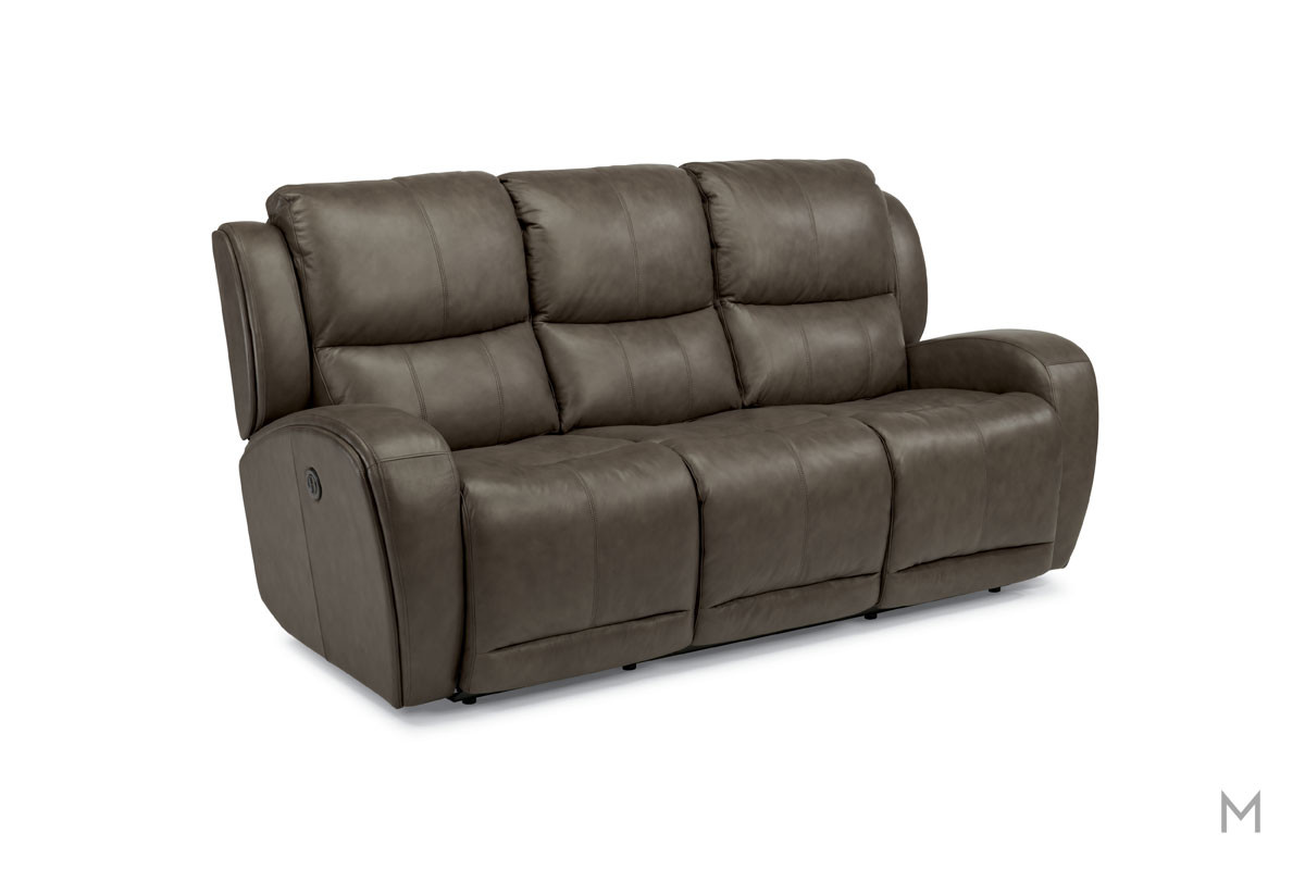 Chaz Leather Power Reclining Sofa in Brown Leather