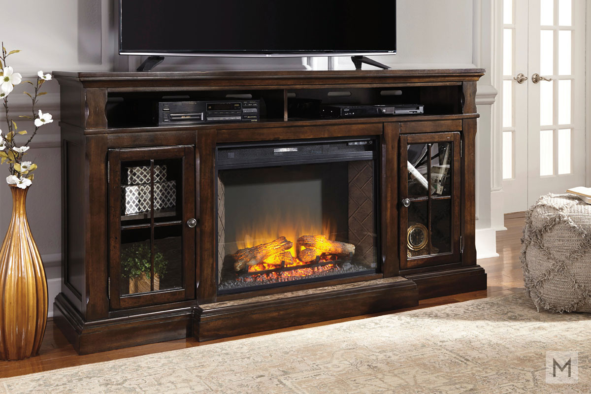 Roddinton TV Stand with Fireplace with Open Storage and Glass Doors