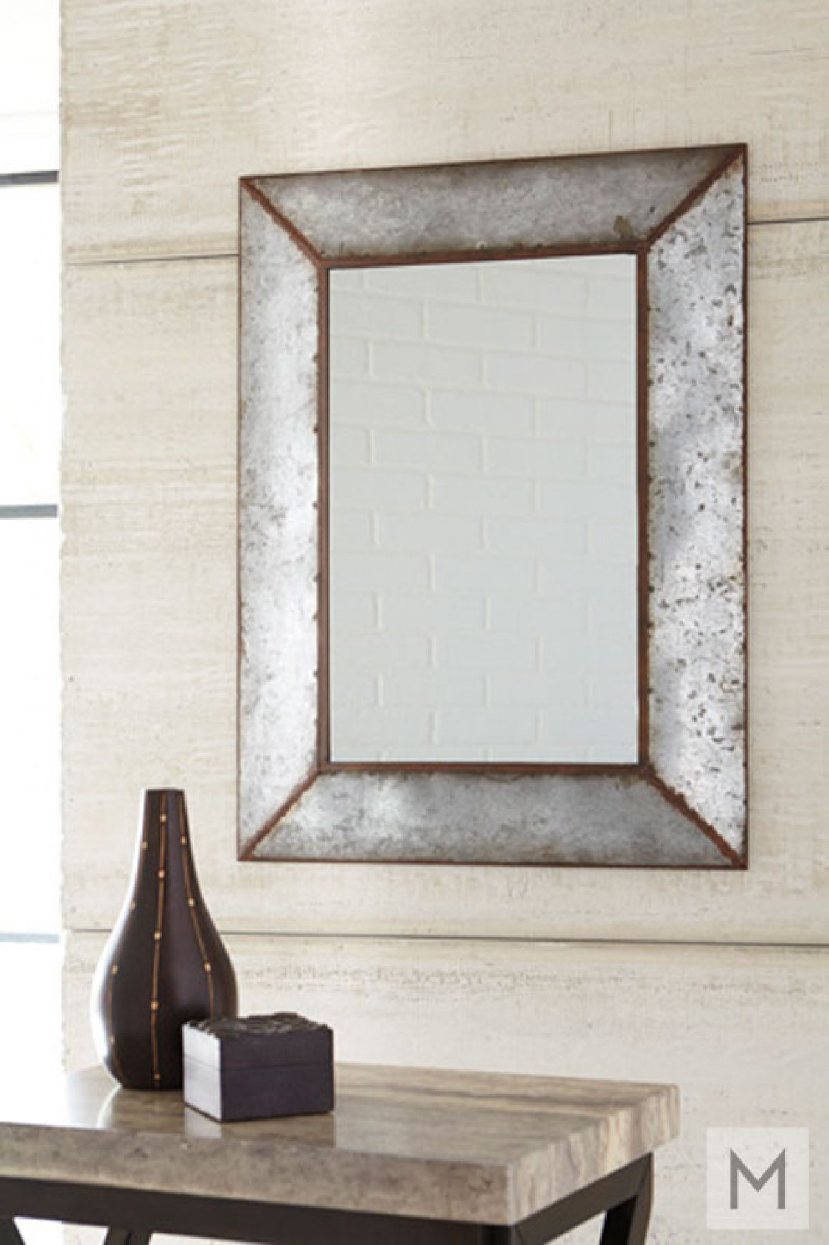 Industrial Wall Mirror in Galvanized Metal