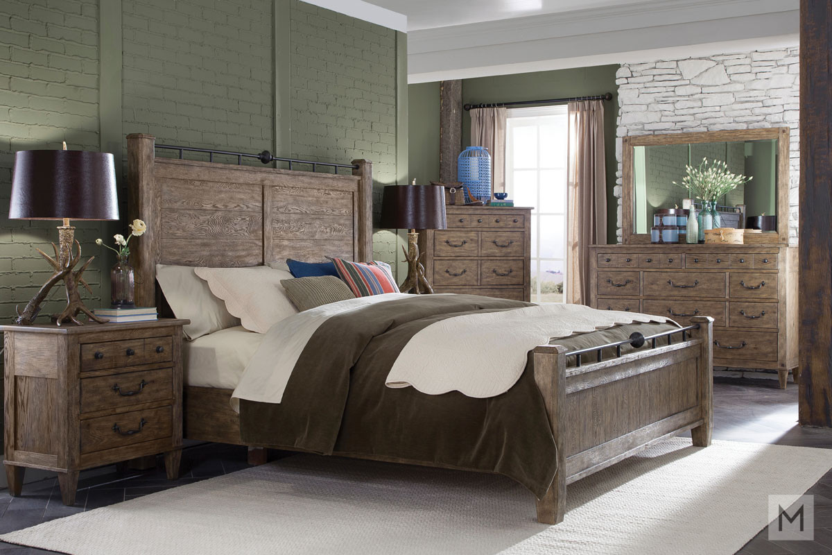 Riverbank Queen Panel Bed in Weathered Gray Oak