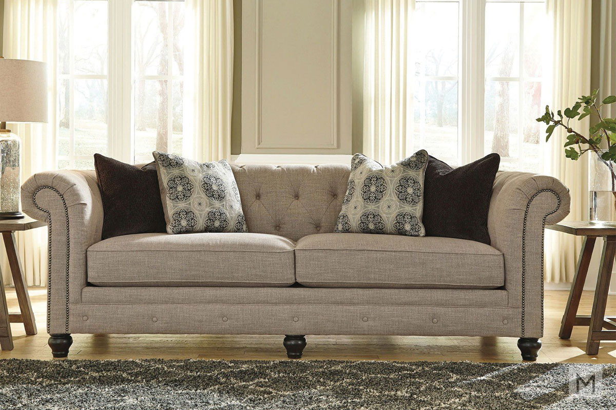 Azlyn Sofa with Tufted Buttons and Nailhead Trim