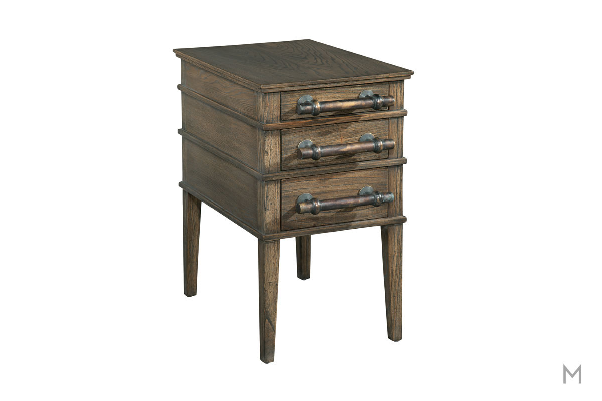 Three Drawer Oak Side Table with Bar Pulls